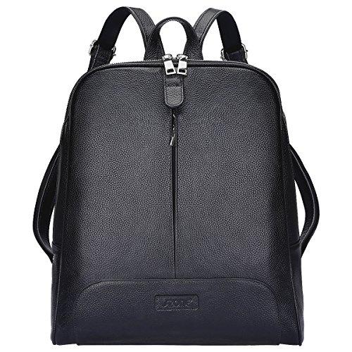 S-ZONE 14 inch Laptop Frauen Echtes Leder Rucksack Reisetasche