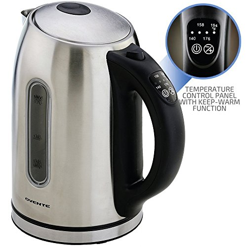 OVENTE Electric Kettle 1.7 Liter with 5 Preset Temperature Settings, 1100 Watts Fast Heating Element, Keep Warm Function Perfect for Tea, Coffee, Hot Beverages and More, Silver (KS89S)