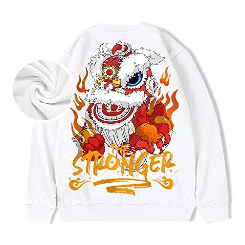 Sweat-Shirt Pull col Rond Hommes sans Chapeau Hip-hop Plus Velours Amants Hommes déliés de Grande Taille Ajustement des Gens de Toutes Tailles (Color : Blanc, Size : L/170)