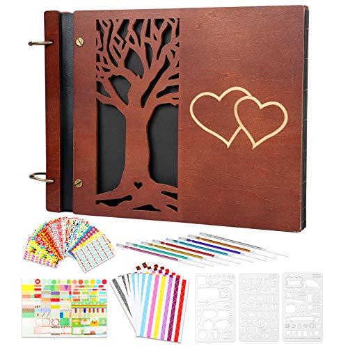 Giiffu Álbum de fotos autoadhesivo, álbum árbol genealógico, recortes madera, 100 páginas, regalo para boda, aniversario, día San Valentín, la madre, del padre, graduación, Navidad
