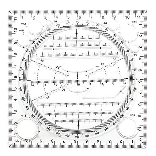 Joocyee Regla de Dibujo de diseño de Arte multifunción, Regla de Plantilla de elipse de geometría estéreo, Regla de brújula Tridimensional de función geométrica Multifuncional Negra, Negro