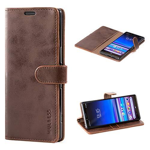 Mulbess Handyhülle für Sony Xperia 1 Hülle Leder, Sony Xperia 1 Handy Hüllen, Vintage Flip Handytasche Schutzhülle für Sony Xperia 1 Hülle, Kaffee Braun