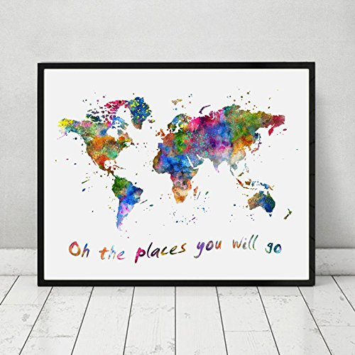 Oh The Places You Will Go Quotes The World Map Wall Art Watercolor World Map Art Nursery Print Travel Poster 11X14 inch No Framed