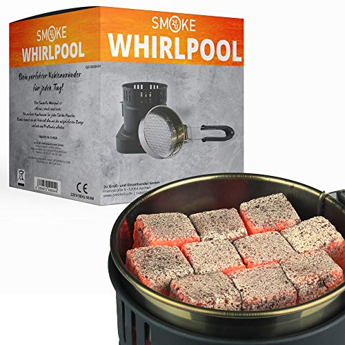Smoke2u® Whirlpool | Elektrischer Shisha Kohleanzünder mit Griff Gitterschutz | 600W | Turbo Hookah Charcoal Heater | Platz für 10 Kohlewürfel | Fertige Kohle unter 8 Minuten (Ohne Kohle)