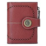 SENDEFN Wallet for Women RFID Leather Coin Purse Bifold Card Case with Zipper Pocket