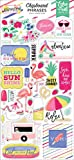 Echo Park Paper Company Best Summer Ever 6x13 Phrases chipboard, pink, teal, yellow, green, purple