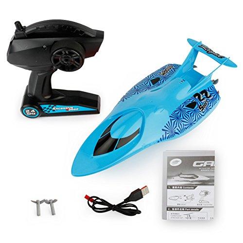 Faironly 2,4 G Ferngesteuertes Speedboot Modell elektrisches Spielzeug wasserdicht Mini RC Racing Boot Spielzeug Geschenk für Kinder blau