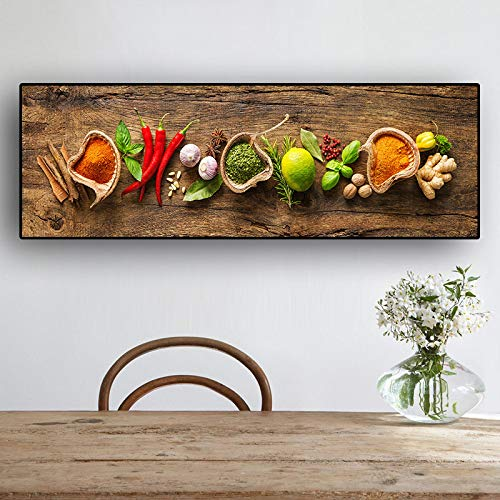 XIANGPEIFBH Grains Spices Spoon Peppers Kitchen Canvas Painting Scandinavian Posters and Prints Wall Art Food Picture Living Room 50x150cm(20'x59') Unframed