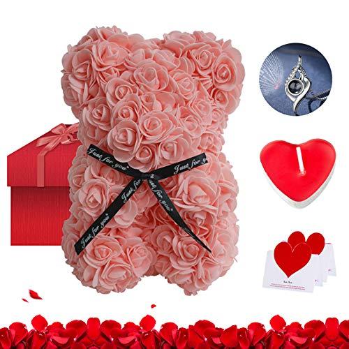 Oso de peluche rosa en caja de regalo 25 cm – Vela romántica, collar con 100 idiomas, los enamorados, cumpleaños, mamá, regalo de vacaciones, regalo de San Valentín (rosa)