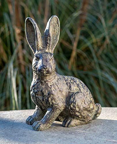 IDYL Escultura de conejo de pie de bronce   36 x 15 x 26 cm   Figura de animal de bronce hecha a mano   Escultura de jardín o estanque   Artesanía de alta calidad   Resistente a la intemperie
