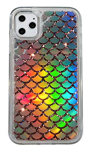 Holographic Mermaid Case Compatible with iPhone 11 Pro Max,Transparent Heavy Duty Hybrid Quicksand Color Changing Phone Cover for iPhone 11 Pro Max 6.5 inch