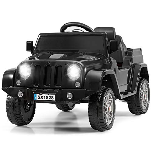 Costzon Kids Ride On Car, Battery Powered Electric Vehicle w/ 2.4G Parental Remote Control, LED Headlights, Music and MP3, High/Low Speed, Ride on Toy for Boys & Girls Age 3 to 6 (Black)