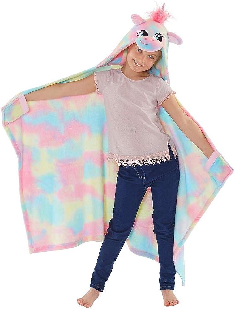Animal Crazy Kids Boys Girls Dinosaur Unicorn Hooded Snuggle Cuddle Blanket UK Seller