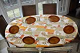 Covers For The Home Deluxe Elastic Edged Flannel Backed Vinyl Fitted Table Cover (Square, Olive Patch)