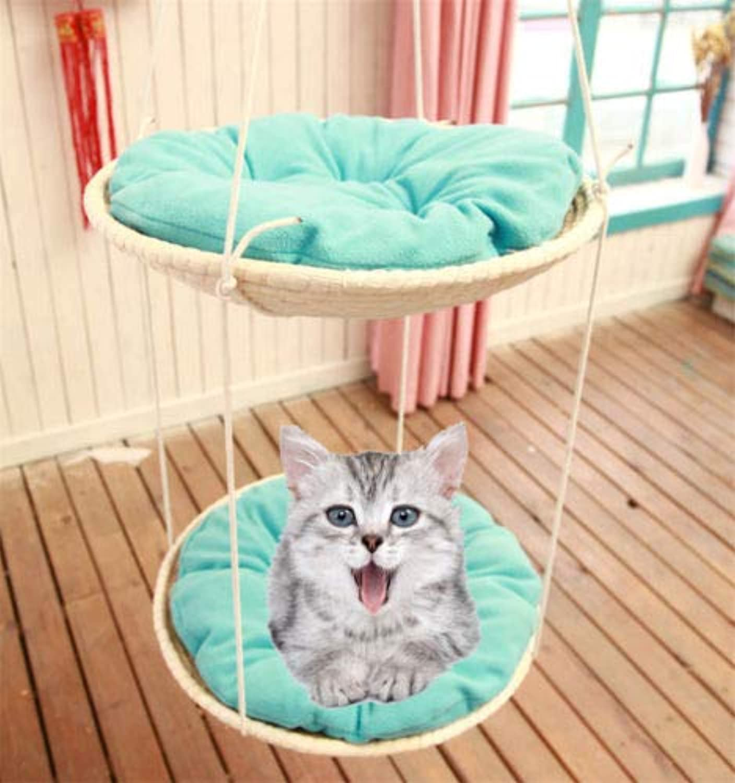 FidgetFidget Nest Cat Hammock Straw Hanging Basket Pet Supply Climbing Frame Kitty Sleep Bed