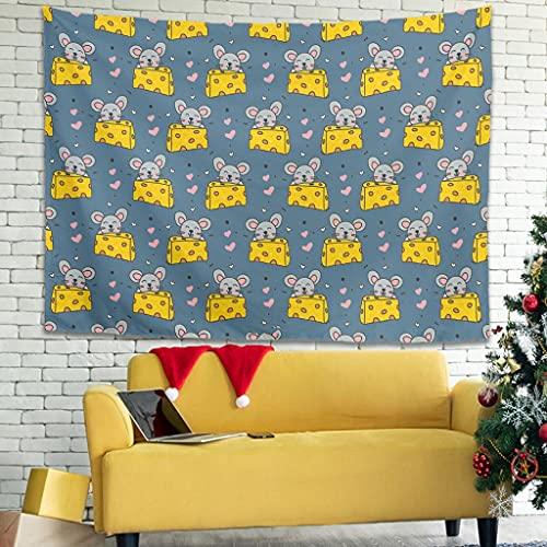 WellWellWell Tapiz decorativo para pared con dibujos animados, diseño de ratón y queso, 100 x 150 cm, color blanco