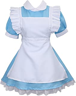 Women's Cosplay Outfit Blue Maid Fancy Dress Costume