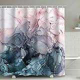 Marmor Duschvorhang mit 12 Haken, einfaches modernes wasserdichtes Badezimmerdekor aus Polyester, farbecht, wasserdicht, 180 * 180 cm (Blush)