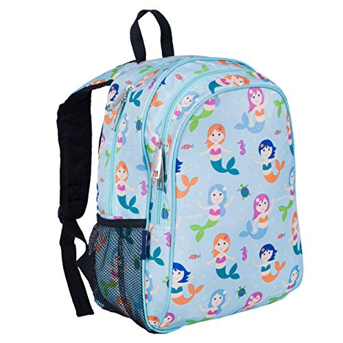 Wildkin Kids 15 Inch Backpack for Boys and Girls, Perfect Size for Preschool, Kindergarten and Elementary School, 600-Denier Polyester Fabric Backpacks, BPA-free, Olive Kids (Mermaids)