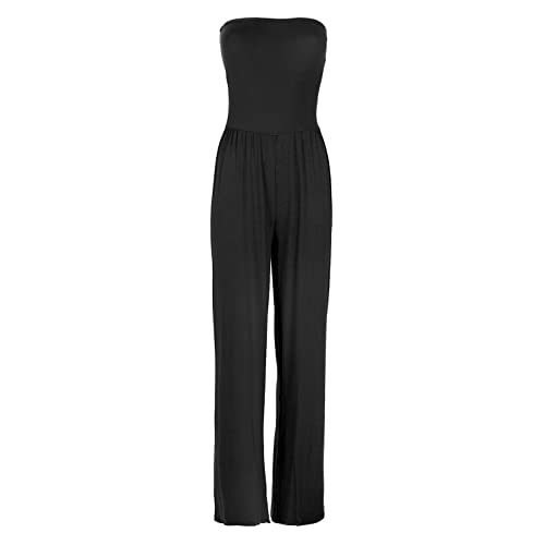 c945e75e6ff Fashion Star Womens All in One Piece Casual Boobtube Wide Leg Palazzo  Rompers Playsuit Jumpsuit Plus