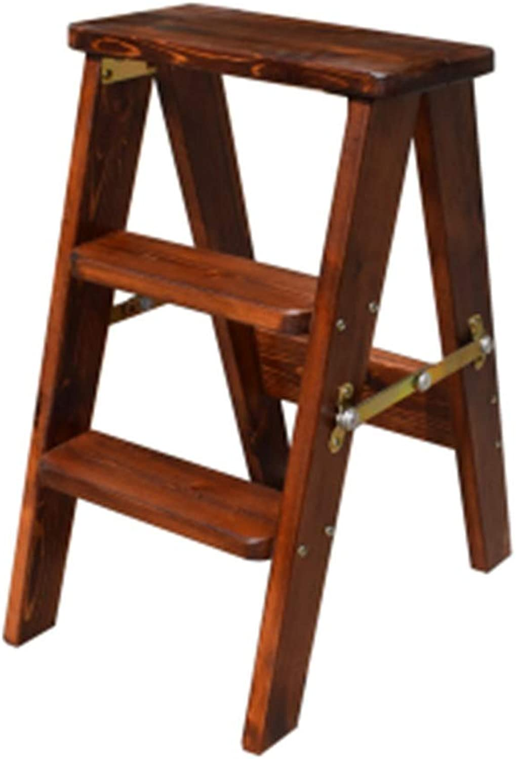 Stools Ladder Stool Home Folding Three-Step Ladder Climbing Stool Ladder Stool Dual-use Folding Chair Solid Wood (color   Brown, Size   33  47  60cm)