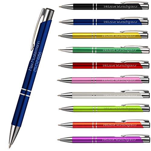 Premium Qualität - Personalisierter Kugelschreiber mit Gravur | Stift mit Name Einzeilig oder Zweizeilig Lasergravur (Blau)