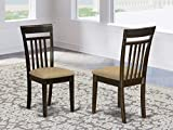 East West Furniture CAC-CAP-C Amazing Kitchen Chairs - Linen Fabric Seat and Cappuccino Hardwood Frame Dining Chair Set of 2