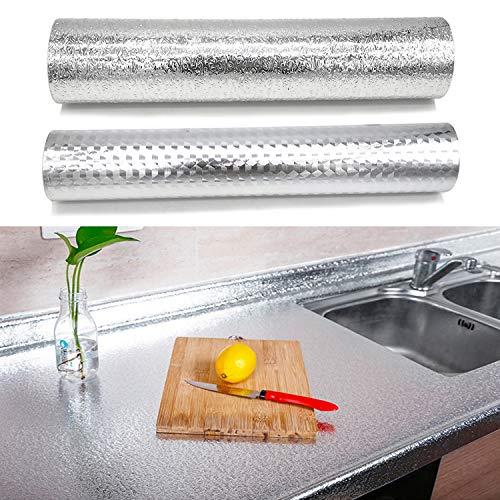 2 Piezas Papel de aluminio, papel tapiz autoadhesivo para darle a tu cocina un pequeño cambio de imagen, 0.4*5M per Rollo