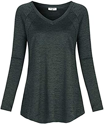 Soogus Yoga Tops for Women V Neck Hiking Shirts Long Sleeve Dri-Fit Activewear Workout T-Shirt Moisture Wicking (Black, M)