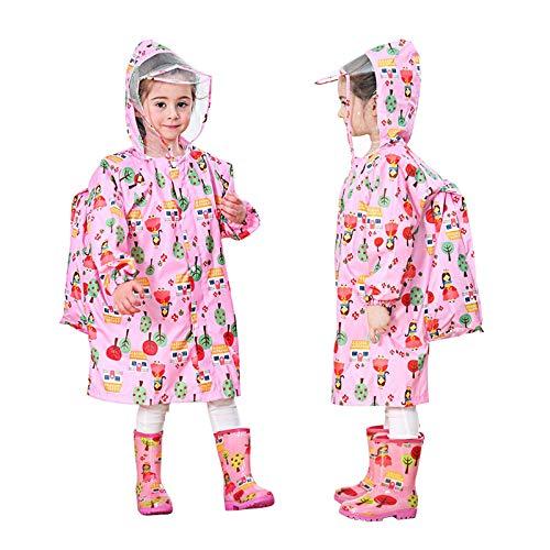 Chubasqueros para niños, abrigo de lluvia de una sola pieza, mono para niños, niños y niñas, impermeable, transpirable, con funda de bolsa, 2 – 10 años, rosa, S