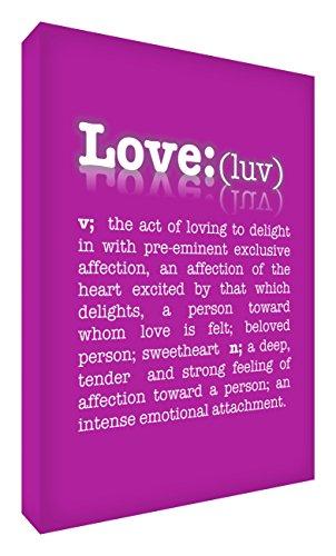 Feel Good Art De betekenis van de liefde galerij verpakt doos canvas, het solide front paneel (30 x 20 x 4 cm, klein, hot pink)