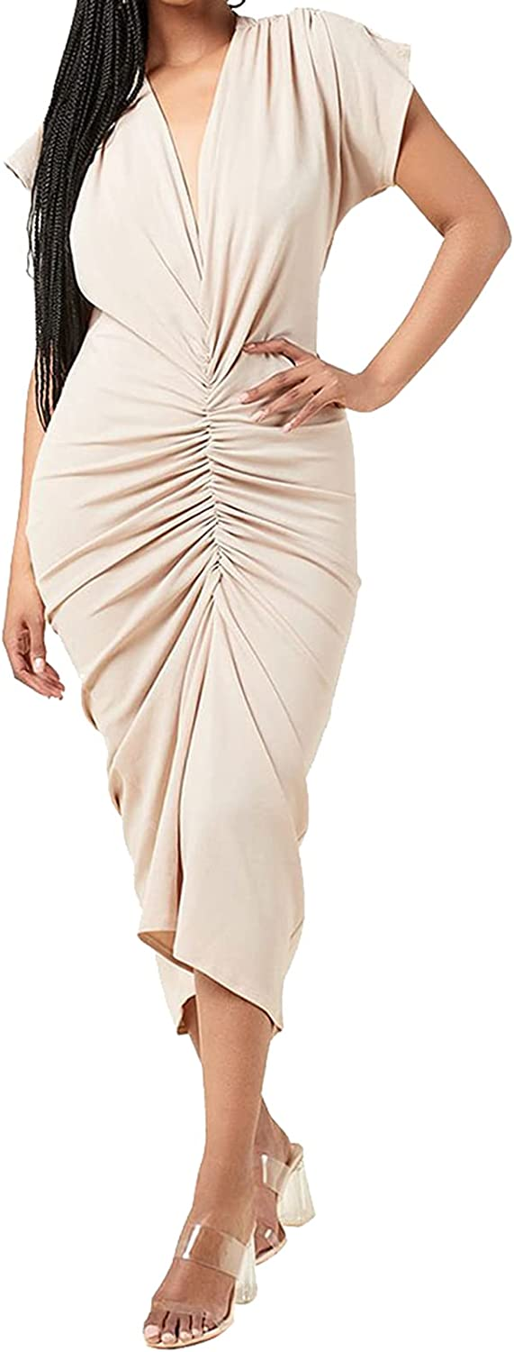 Bluewolfsea Women Sexy Deep V Neck Front Ruched Bodycon Maxi Dress Elegant Cap Sleeve Cocktail Party Dresses