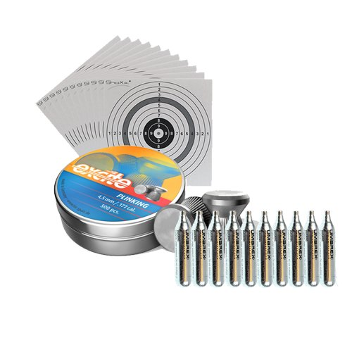 500 H&N Plinking Diabolos Kal. 4,5 mm + 10 Marken Co2 Kapseln 12g + 5 ShoXx.® Shoot-Club Zielscheiben 14x14 cm mit zusätzlichen grauen Ring und 250 g/m² -