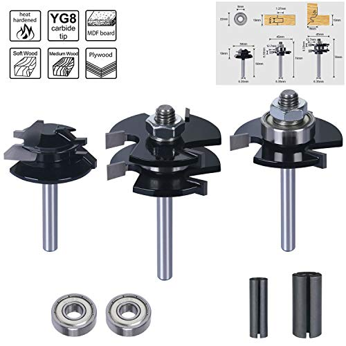 flintronic Fräser Set, 3PCS Router Bit, 6.35MM Fräsen Set Oberfräser Set für Holzbearbeitungswerkzeuge, DIY, Graviermaschine und Trimmmaschine, inkl 2 Lager, 2 Durchmesserwechseladapter (8mm&12.7mm)
