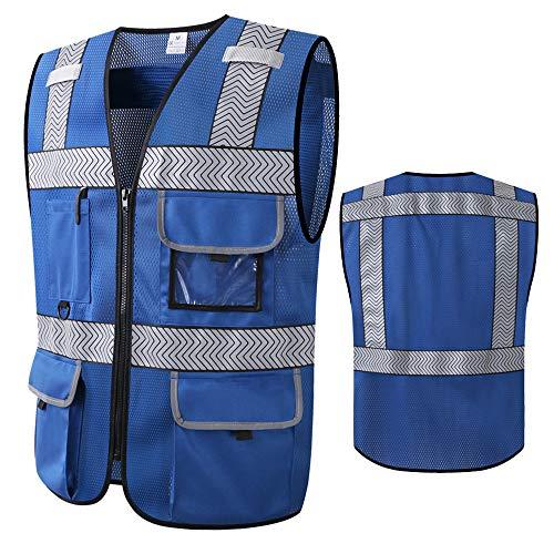 Blue Safety Vests with Pockets and Zipper Reflective Workwear Hi Vis Work Vest Construction Vest for Men With Pockets (X-Large)