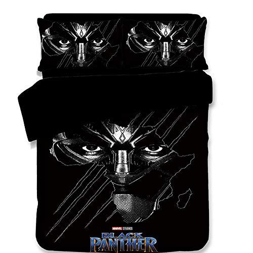 AmenSixye Juego de Ropa de Cama Marvel Black Panther para decoración de Cama de niños tamaño Individual edredón Cubre Cama de Matrimonio 3 uds Textiles para el hogar, 203×228cm(3piezas)
