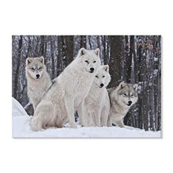 SEVEN WALL ARTS Modern Wild Animal Wolf Print Wildlife Wolves in a Snowy Winter Forest Scene Landscape Picture Stretched Framed Artwork for Living Room Bedroom Office Décor 24x16 Inch