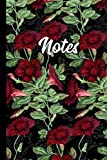 """Notes: Red Flowers Green Leaves Pattern 6"""" X 9"""" - 120 College Ruled Pages"""