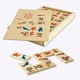 Dida - Domino Animali Marini. Il Domino Gioco da Tavolo con Tessere e Scatola di Legno per Bambini.