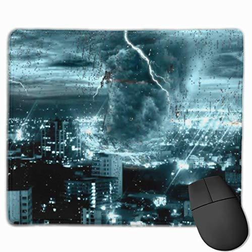 Stadt Tornado Sturm Wetter Muster Anti-Rutsch-Persönlichkeit Designs Gaming Mouse Pad Schwarzes Stoff Rechteck Mousepad Art Naturkautschuk Maus Matte mit genähten Kanten