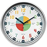 Owlconic Telling Time Teaching Clock - Kids Room, Playroom Analog Silent Wall Clock. Visual Learning Clock Time Resource. Perfect Educational Tool for Homeschool, Classroom, Teachers and Parents.