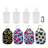 4 Pieces Hand Sanitizer Bottle Holder with 30ML Small Leak Proof Plastic Empty Flip Cap Refillable Travel Containers for Liquids, Soap, Gym Shampoo and Lotion For Women and Girls