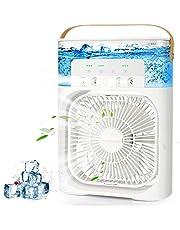 AILUKI Mini-airconditioner, 3-in-1 USB-verdampingsluchtkoeler, persoonlijke luchtbevochtiger met 7 kleuren led-licht, draagbare ventilator met 3 koelstanden en 3 sproeimodi met 1/2/3 H-timer, 900 ml watertank
