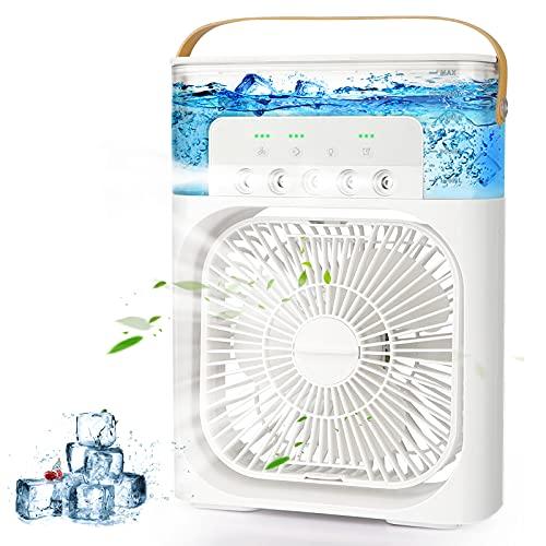 AILUKI Mini Klimageräte 3 in 1 USB Verdunstungs Luftkühler Persönliche Luftbefeuchter mit 7 Farben LED Licht Tragbares Lüfter mit 3 Kühlstufen und 3 Sprühmodi Mit 1/2/3 H-Timer 900ml Wassertank