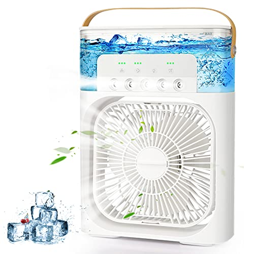 AILUKI Mini Air Conditioner 3 in 1 USB Evaporation Air Cooler Personal Humidifier with 7 Colours LED Light Portable Fan with 3 Cooling Levels and 3 Spray Modes with 1/2/3 H Timer 900 ml Water Tank