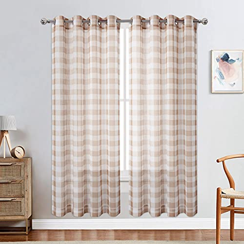 """CAROMIO Semi Sheer Curtains For Living Room, Linen Textured Grommet Buffalo Plaid Curtain Light Filtering Drape Long Window Curtain Set for Bedroom Window Decor, 52""""W x 84""""L, Tan and White, 2 Panels"""
