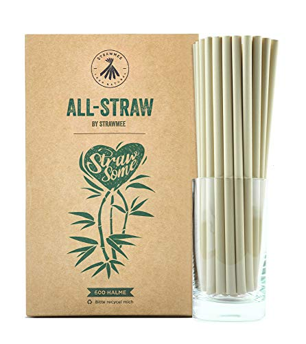 Strawmee, cannucce usa e getta biologiche in fibre vegetali naturali, alternativa ecologica sostenibile alla plastica e PLA, jumbo 8 mm, compostabili, per cocktail, gastronomia, caffè, bar e hotel