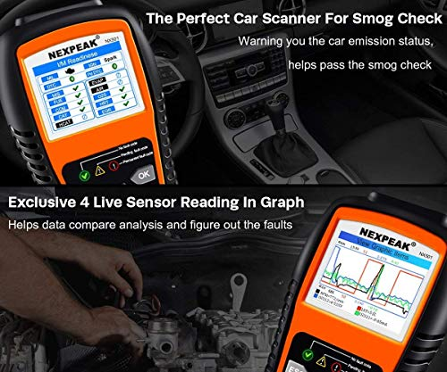 NEXPEAK OBD2 Scanner NX501 Enhanced OBD II Auto Code Reader Car Diagnostic Scan Tool Vehicle Check Engine Light Analyzer… 5 【Professional Vehicle Code Reader】 NEXPEAK NX501 is an enhanced auto scanner that you can NOT ONLY check all engine related fault codes, find out what caused the check engine light comes on, turn-off Malfunction Indicator Lamp (MIL), locate bad O2 sensor, but also can monitor car battery health status, remind you when the battery need to be replaced. It's a perfect scan tool helps you to determine if your car need to be repaired and avoid blind maintenance, saves your time and money. 【Wide Array of Compatibility】 Accurately read and erase error codes on all OBD2 protocol vehicles with a 16 PIN interface (KWP2000, ISO9141, J1850 VPW, J1850 PWM and CAN). The NEXPEAK NX501 is compatible with most US vehicles that are model year 1996 or later – including sedans, SUVs, light trucks, and 12V diesels. This is a plug-and-play engine diagnostic code reader (both generic and manufacturer specific codes) – no extra batteries or apps required. 【NOT ONLY Full OBD2 Function】 All 10 modes OBD2 diagnostic function including: read and erase fault codes, retrieve I/M readiness and freeze frame data. Unique graphical forms to display live sensor data, Auto VIN acquisition, O2 Sensor and EVAP Test (Mode 8), Advanced On-board Monitoring (Mode 6). This auto analyzer can not only reveal what error codes your car is producing, but also monitor the battery voltage at all time during OBD car diagnostic, reminds you when having an aging battery