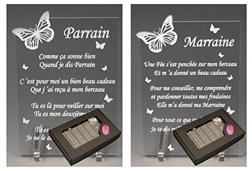 1 Poème Parrain + 1 Marraine - Papillon - Baptême & Communion
