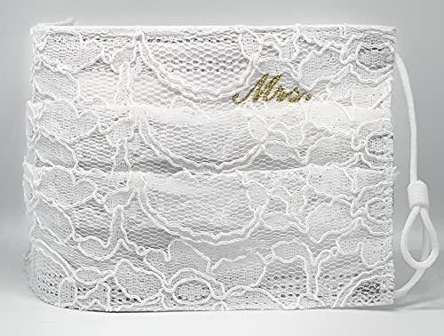 """Braut Hochzeit medizinische Mund und Nasenbedeckung weiß creme bestickt""""Mrs."""" in Gold mit aufgenähter Spitze verstellbaren Gummibändern"""